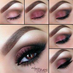 Eye Make-up Motives by Loren Ridinger Motives Cosmetics Red Eyeshadow, Smokey Eye Makeup, Skin Makeup, Eyeshadow Palette, Easy Eyeshadow, Airbrush Makeup, Eyeshadow Guide, Dramatic Eyeshadow, Natural Eyeshadow