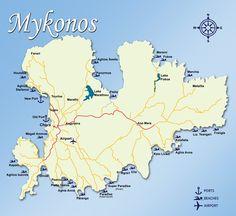 Mykonos sightseeing map Maps Pinterest Mykonos Greece islands