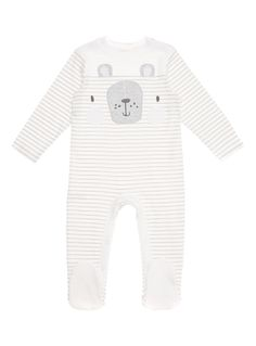Give your little one sweet dreams with this adorable bear embroidered sleep suit. Crafted in pure cotton, this piece features popper fastenings and a grey stripe pattern. White bear sleep suit Popper fastening Non-slip soles Bear embroidery Striped Pure cotton Keep away from fire