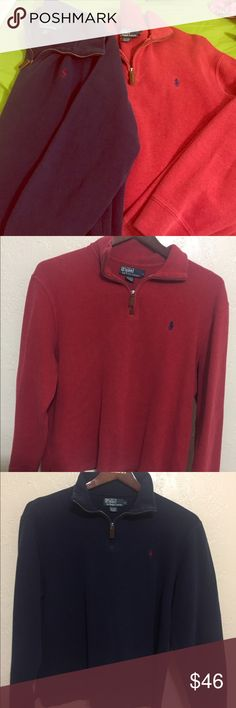 2 pack men's size large polo pull over 2 Ralph Lauren by Polo size Large Men's pull overs. Both have leather zipper, faded but still lots of life left! Polo by Ralph Lauren Shirts Sweatshirts & Hoodies