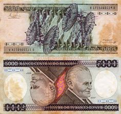 Brazil 5000 Cruzeiro 1984 banknote :: WorldMoneyMax.com BANCO CENTRAL DO BRASIL / CINCO MIL CRUSEIROS...