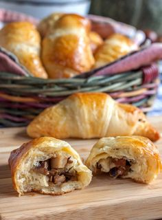 Wild Mushroom and Smoked Pork Jowl Filled Crescents. Wild mushrooms and tender, . Recipes Using Pork, Bacon Recipes, Cooking Recipes, Keto Recipes, Double Smoked Bacon Recipe, Smoked Pork, Wild Mushrooms, Stuffed Mushrooms
