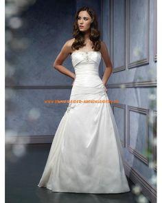 Elegante Brautmode A-Linie aus Satin mit langer Schleppe online kaufen 2013