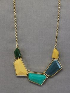 blue, gold and green necklace