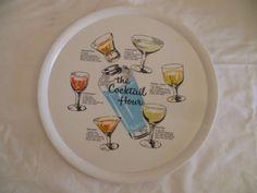 Retro 1950's Vintage Drinks Tray Round Cocktails Recipes Round Ornamin Plastic   | eBay