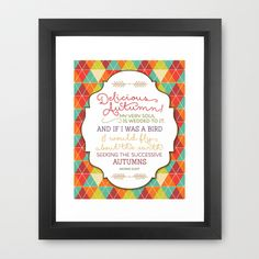Delicious Autumn - Quote by George Eliot Art Framed Art Print by Noonday Design - $33.00