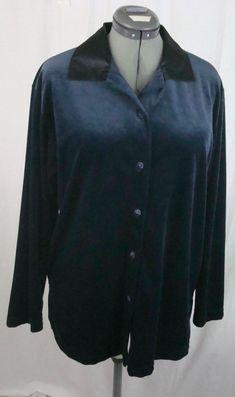Blue Velvet Blouse Extra Large Women's Polyester Black Collar CALIFORNIA KRUSH #CaliforniaKrush #VelvetBlouse #YourChoice