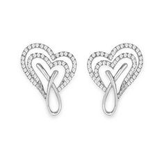 0.56 Carat Genuine White Diamond 14K White Gold Earrings (G-H Color, SI1-SI2 Clarity)