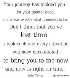 Your journey has molded you for your greater good, and it was exactly what it needed to be.  Don't think that you've lost time.  It took each and every situation you have encountered to bring you to the now and now is right on time.  Asha Tyson    WOW, this is the best quote I have ever read.