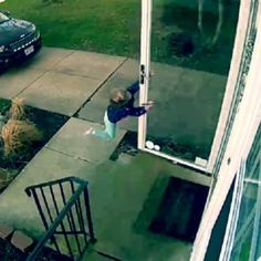OMG! This little girl opened her door, and the wind nearly blew her away