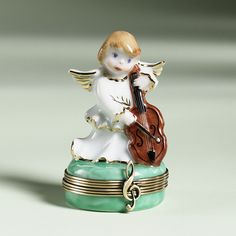 Limoges Angel with Cello Box The Cottage Shop