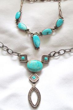 "2 STERLING SILVER TURQUOISE 18"" NECKLACES LOT- 1 BY BARSE & 1 BY NAVAJO R. BEGAY"