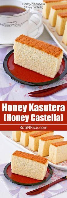 Honey Kasutera (Honey Castella) - fine textured Japanese sponge cake raised solely by egg foam. Only 4 ingredients - eggs, sugar, bread flour, and honey.   RotiNRice.com