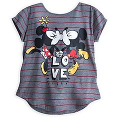 Disney Mickey and Minnie Mouse Fashion Tee for Women   Disney StoreMickey and Minnie Mouse Fashion Tee for Women - Minnie and Mickey make merry with the smooches on this fine heathered fashion tee, proving they are still the most adorable duo in Disney's sweet shoppe!