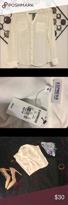 NWT Express Classic Fit Porto Fino Ivory XS New with tags.  Color is off white Express Tops Blouses