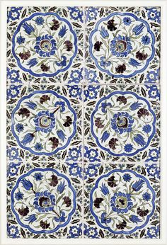 Panel of six tiles with floral medallions in green, blue and purple, Damascus (Syria), ca. 1600.
