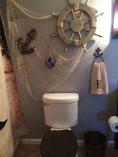 Best Pirate Bathroom Design Decor Ideas for Your Kids Anchor Bathroom, Nautical Bathroom Decor, Beach Theme Bathroom, Beach Bathrooms, Dream Bathrooms, Amazing Bathrooms, Bathroom Ideas, Seaside Bathroom, Mermaid Bathroom Decor