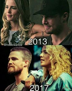 Stephen Amell and Emily Bett Rickards Dc Comics, Arrow Memes, Oliver Queen Felicity Smoak, Arrow Tv Series, Arrow Cast, Stephen Amell Arrow, Snowbarry, Dc Tv Shows, Team Arrow