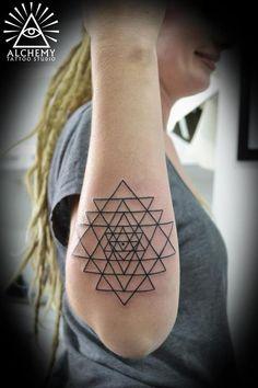 Sri Yantra tattoo by David at Alchemy in Ormond, Melbourne.