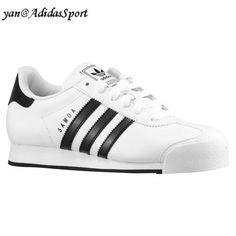 sports shoes 4d622 f6faf Nuevo Adidas Originals Mujeres Samoa Retro Zapatillas de Cuero Blanco Negro  Outlet Online