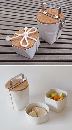 Is this lunchbox perfection? The Tiffin Lunch Kit by Lorea Sinclaire is a faceted bento box made from slip cast ceramic and cork. Food Packaging, Packaging Design, Boite A Lunch, Bokashi, Ceramic Design, Kitchenware, Cork, Cooking, Gadgets