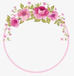 Ideas for flowers png rose Frame Floral, Rose Frame, Flower Frame, Flower Art, Wreath Watercolor, Watercolor Flowers, Pink Roses, Pink Flowers, Bougie Candle