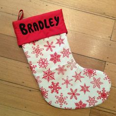 Personalised, Quality Padded and Lined, 55cm Long, Calico & Red Snowflake Christmas Stockings by AeviternalCreations on Etsy