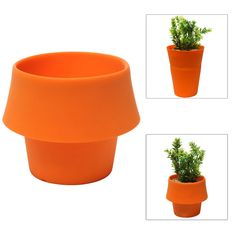 Amazon.com: Decorative Modern Style Orange Flexible Folding Silicone Plant Flower Planter Display Pot - MyGift®: Patio, Lawn & Garden