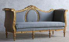 Vintage 1920's Louis XVI French Style Shabby Gilt Daybed Sofa Blue-antique, rolled, arm, floral, classic,burlap,romance, glamour, gold,furniture, couch,couch,livingroom,upholstered,romantic,elegant,paint,