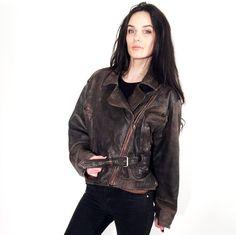 Vintage 80's Bron Crop Belted Ruffle Waist Motorcycle Jacket by Ramaci