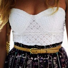 lace top with high-waisted skirt.