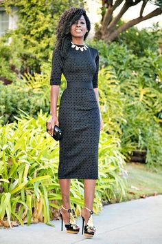 Opt for comfort in dark grey polka dot bodycon dress. Take a classic approach…