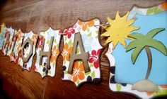 Aloha Luau Banner Party banner Hawaiian inspired embellished with palm tree, sunshine, hibiscus on Etsy, $18.00