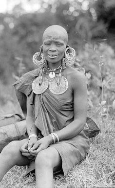 Africa | Old woman with typical jewellery.  Fort Hall,  Kenya.  ca. 1936 | ©G. Eric Matson