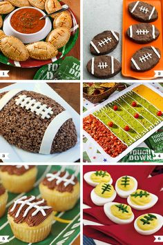 football food For football theme birthday parties, game day get-togethers, tailgates, and Super Bowl parties here are some creative ideas for football party food! Super Bowl Party, Football Party Foods, Football Food, Football Birthday, Football Parties, Football Desserts, Football Treats, Football Names, Football Humor