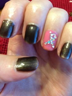CND Shellac Breast Cancer Awareness Nails w Individual Swarovski crystals. Nails by Suzanne Cox.