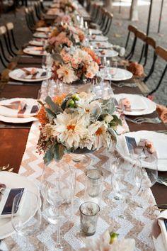 Pink chevron table: http://www.stylemepretty.com/2014/08/06/fall-al-fresco-wedding-at-beaulieu-gardens/ | Photography: Elle Jae - http://ellejae.com/