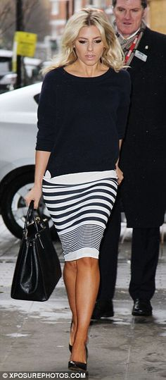 Earning their stripes: Mollie King and Frankie Sandford co-ordinate their looks as The Saturdays arrive at Radio 1 Stripes Fashion, White Fashion, Work Fashion, Skirt Fashion, Fashion Looks, Women's Fashion, Fashion Tips, Beautiful Outfits, Cute Outfits