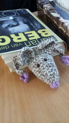 Boekenlegger bookmark mouse muis haakpatroon crochetpattern