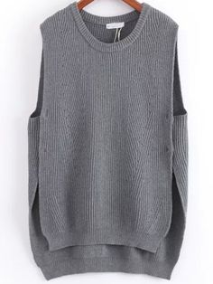 SheIn offers Grey Round Neck Dip Hem Knit Sweater Vest & more to fit your fashionable needs. Long Sweaters For Women, Big Knits, Vest Pattern, Knit Vest, Knitted Tank Top, Look Fashion, Knitwear, Couture, Knitting