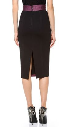 L'Wren Scott | Pencil Skirt in bordeaux/black (back view)