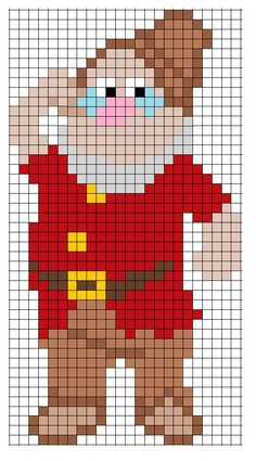 Doc Snow White - using these Perler bead patterns to create a patchwork, knit blanke Perler Beads, Pearler Bead Patterns, Perler Patterns, Alphabet Disney, Modele Pixel Art, Perler Bead Disney, Pinturas Disney, Pixel Crochet, Pixel Pattern
