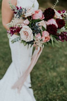 Burgundy and blush bridal bouquet by Pomp&Bloom 2019 Burgundy and blush wedding flowers by Pomp&Bloom Wedding Flower Guide, Winter Wedding Flowers, Purple Wedding Flowers, Spring Wedding Flowers, Rustic Wedding Flowers, Flower Bouquet Wedding, Hydrangea Bouquet, Wildflowers Wedding, Blush Bouquet