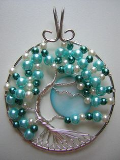 Pearly Blue Tree of Life with Moon Wire. Craft ideas from LC.Pandahall.com