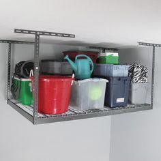 Shop MonsterRax 4' x 6' Overhead Garage Storage Rack - Overstock - 11098657 Easy Garage Storage, Diy Garage, Garage Organization, Kitchen Storage, Rack Shelf, Storage Shelves, Garage Storage Inspiration, Storage Ideas, Overhead Storage Rack