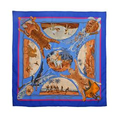 """1980s Vintage Hermes """"Chasses Exotique""""  Silk Scarf"""