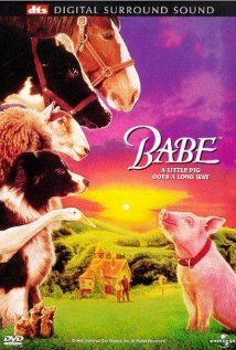 *BABE ~ In this charming, funny movie Babe - a pig raised by sheepdogs - learns to herd sheep with a little help from Farmer Hoggett.