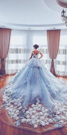Beautiful Floral Wedding Dresses To Get Inspired! Beautiful Floral Wedding Dresses To Get Inspired! Luxurious Off the Shoulder Beading Wedding Dress Crystal Tiered Chapel Train Bridal Gowns Quince Dresses, Ball Dresses, Prom Dresses, Ball Gowns Prom, Dresses For Balls, Blue Ball Gowns, Ball Gowns Evening, Bridesmaid Dresses, Blue Evening Dresses