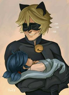 Baby Marinette and Chat Noir #marichat