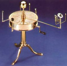 Christies International London England. Orrery MODEL Specifications Merc.4.15,Ven.1.625, Earth is 1.00, Mars 1.875, Jup.11.857, Sat.29.6 for example ,Mercury orbits the sun 4.15 times faster than Earth. Jones 6 planet orrery following the style of the 19th Cent with tapered planet arms and planet uprights as was common in the period, includes 11 moons.